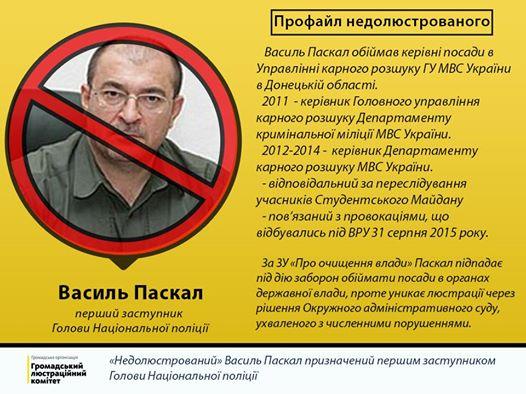 Васили Паскал люстрация МВД