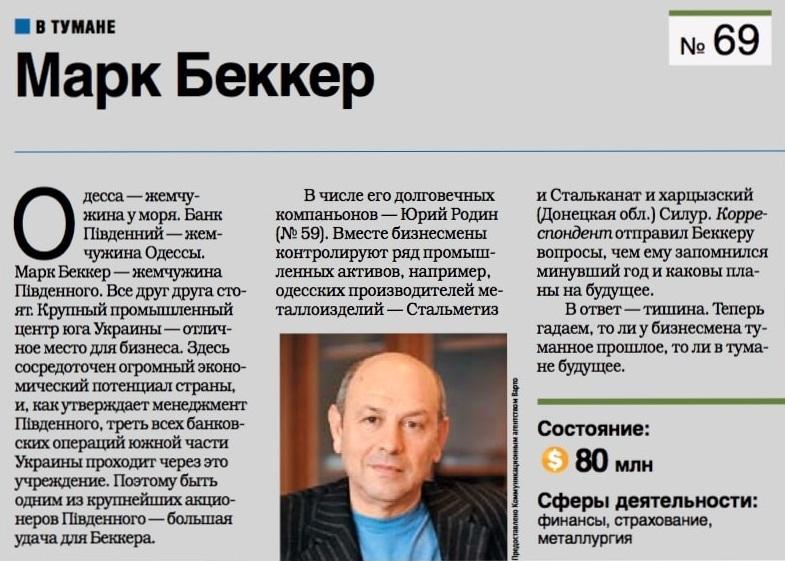 Марк Беккер Корреспондент Пивденный ТОП-100