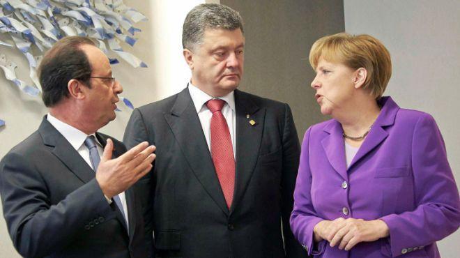 Франсуа Олланд, Петр Порошенко, Ангела Меркель