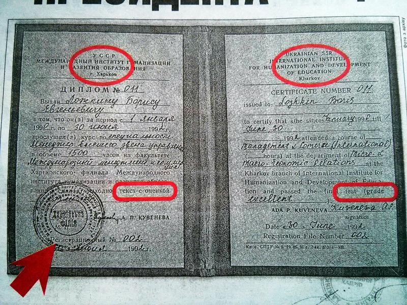 Фотокопия «диплома» Бориса Ложкина, заверенная печатью управления кадров АПУ. Судя по тому, что диплом напечатан на простой бумаге и содержит ошибки, о качестве его «авторитетности» можно не говорить.