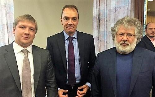 Андрей Коболев, предправления Укрнафты Марк Роллинс и Игорь Коломойский июль 2015 года