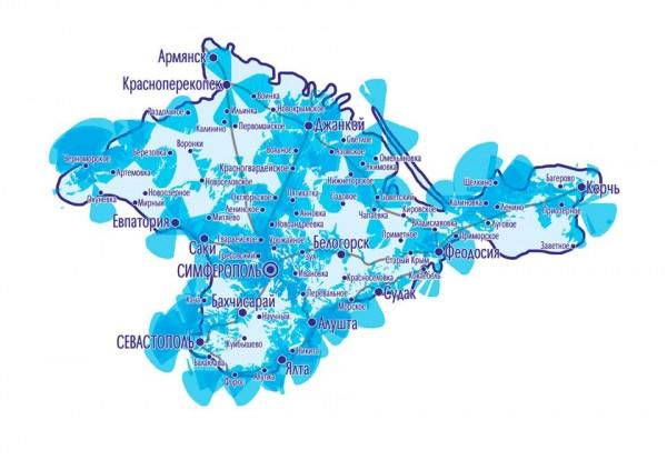 Так выглядит покрытие российской компании Интертелеком в Крыму